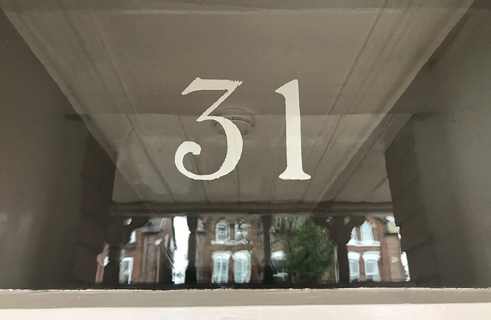 Hand Painted Number on glass