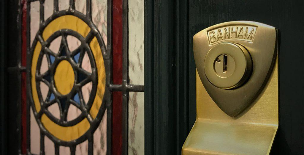 Regalead film in Victorian front door glass