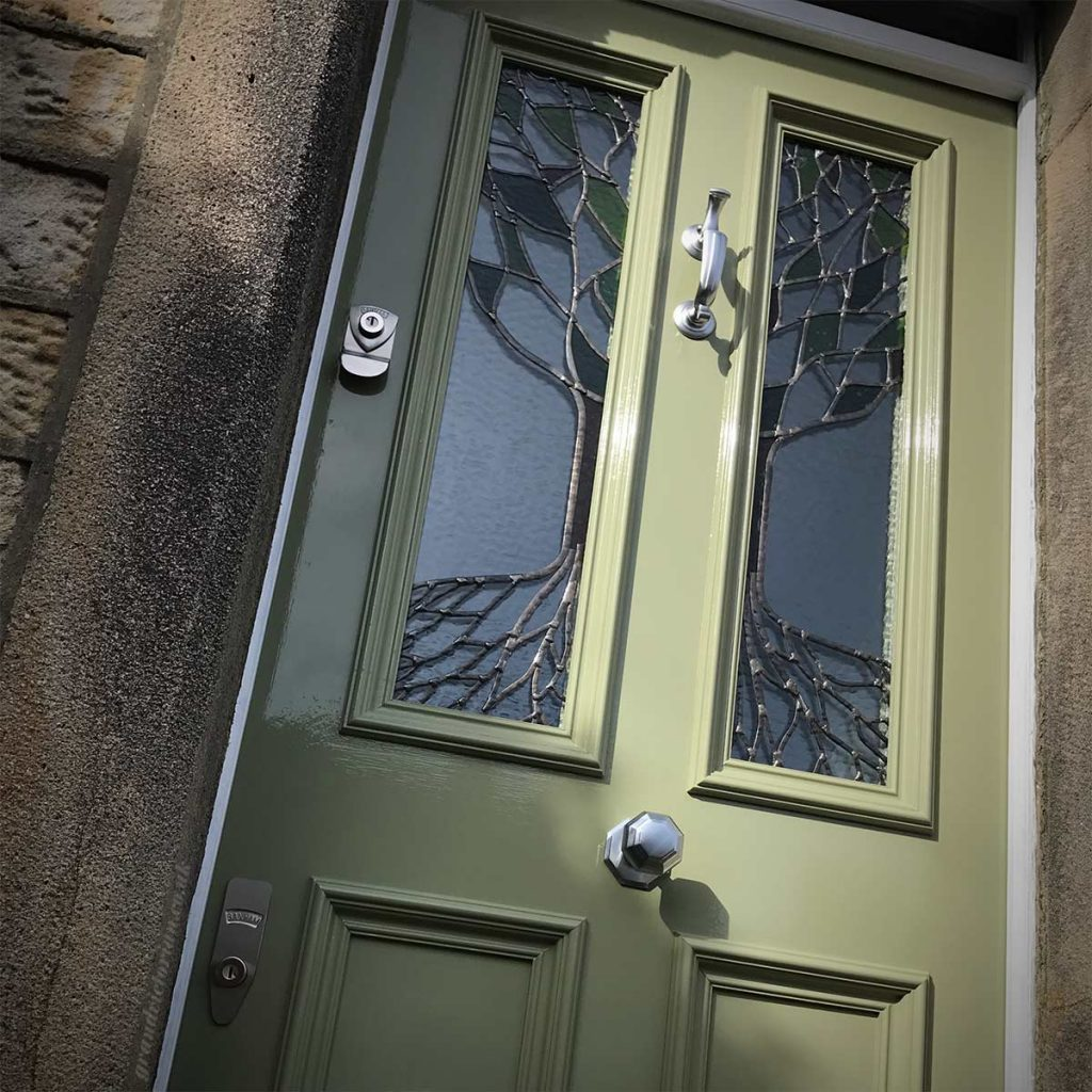 Victorian front door with Yggrasil leaded glass in Lancaster 12 LA11SE