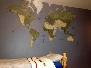 World Map On The Boys Bedroom Wall