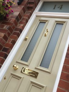 Alison's Grand Victorian front door with Canterbury glass in Sale Manchester