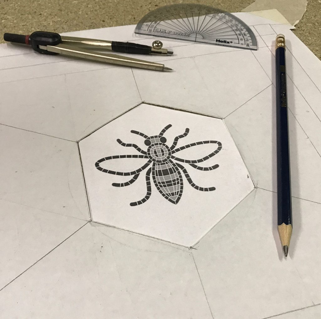 Designing Manchester Bee leaded glass