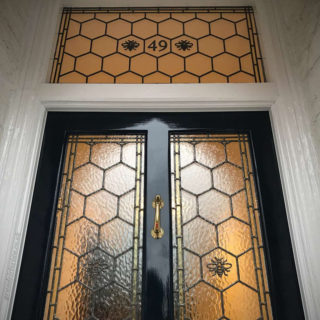 Manchester Bee leaded glass in Altrincham