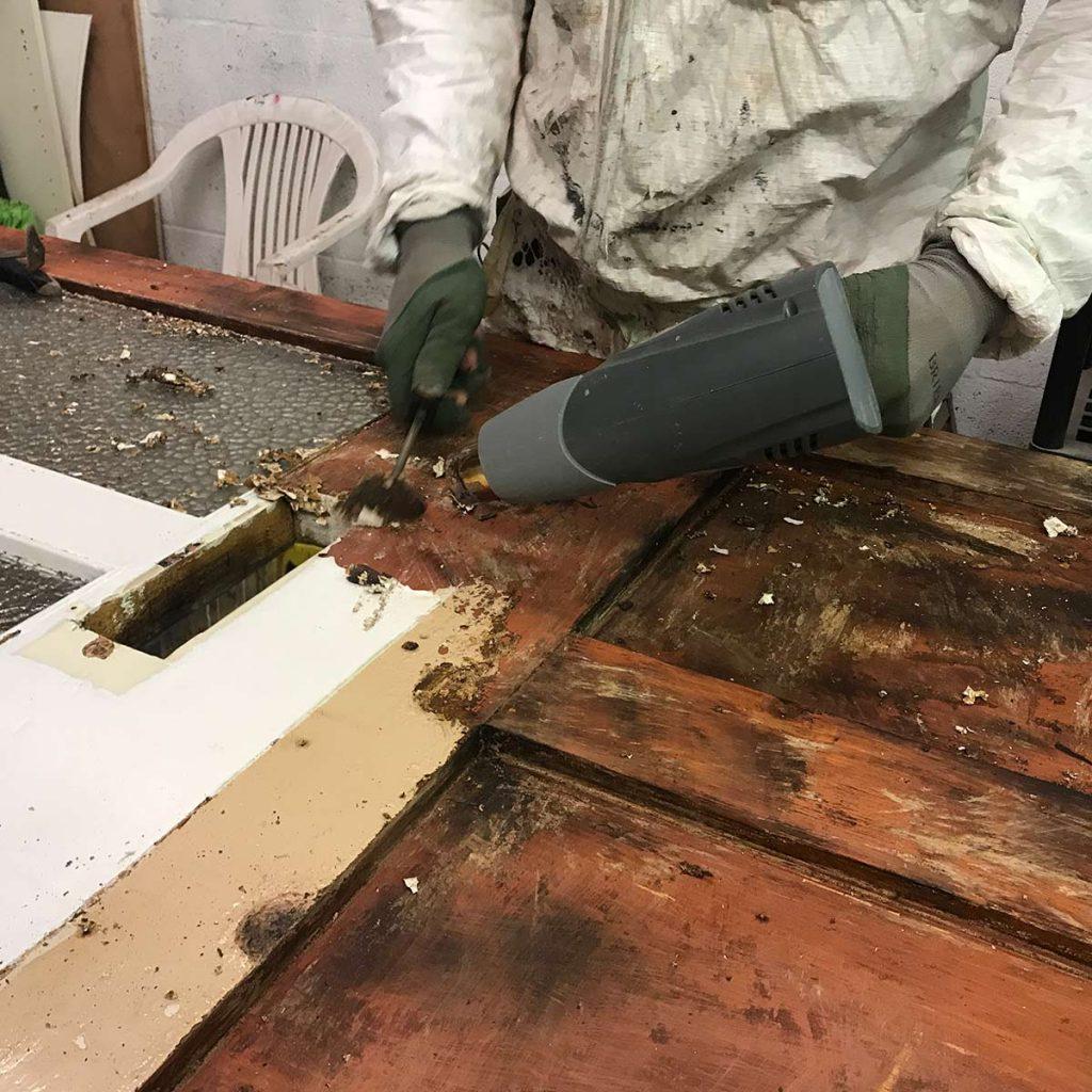 Stripping 119 years of paint from Imogen's Victorian front door