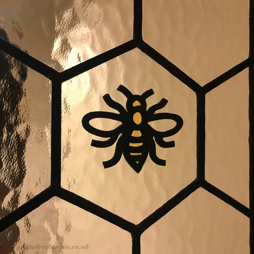 The Manchester Bee in leaded glass