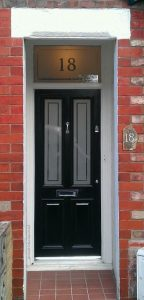Victorian front door in Altrincham with etched glass