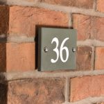 Green slate house number