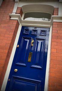 Restored pitch pine front door in Ashton-under-Lyne