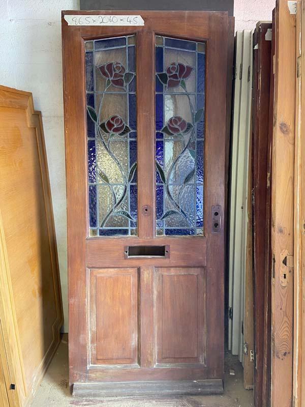 Hardwood 4 Panel Leaded Glass Front Door 865x2060x45