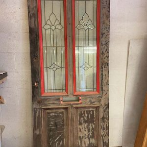 Hardwood 4 Panel Leaded Glass Front Door 920x2140x43