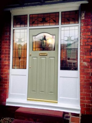 1930's Front Door with traditional stained glass