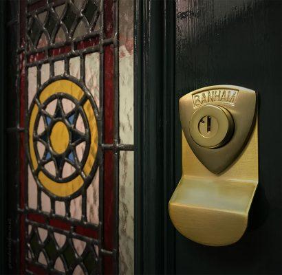 Regalead film on a Victorian front door