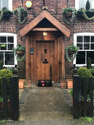 Tudor Style Front Door with porch